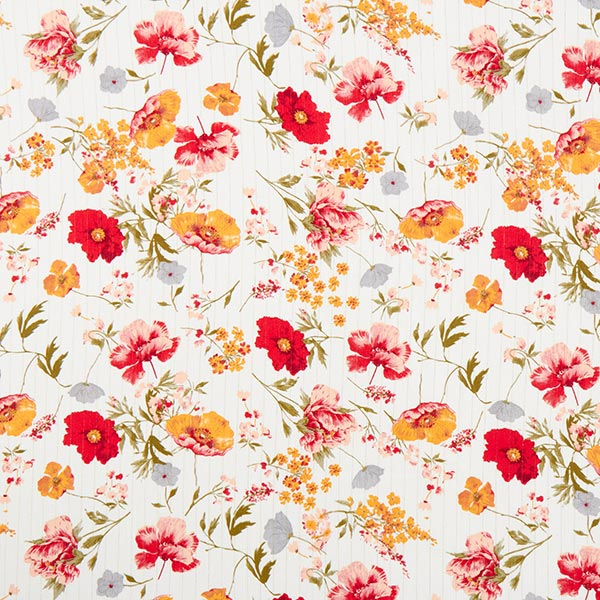 Viskosestoff Glitzerstreifen und Blumen – weiss