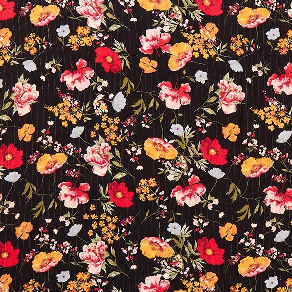 Viskosestoff Glitzerstreifen und Blumen – schwarz