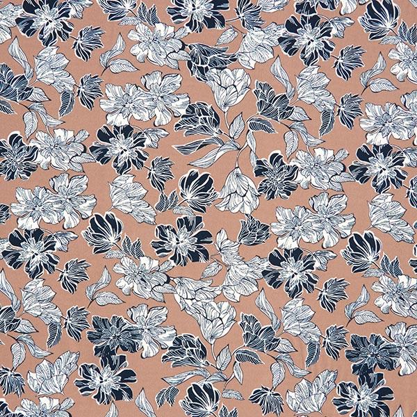 Tissu pour chemisier Stretch Arbustes fleuris – marron clair