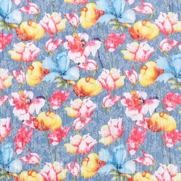 Mélange coton crêpe tulipes – bleu pigeon