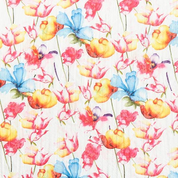 Baumwollmischung Krinkel Tulpen – weiss