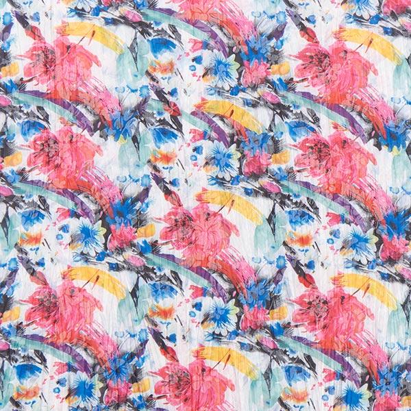 Baumwollmischung Krinkel Blumenmeer – weiss