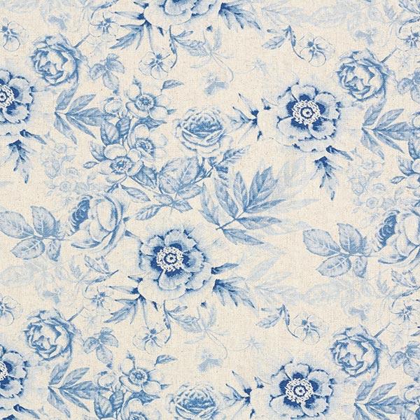 Blusenstoff Viskose-Leinen-Mix Blumen – natur/blau