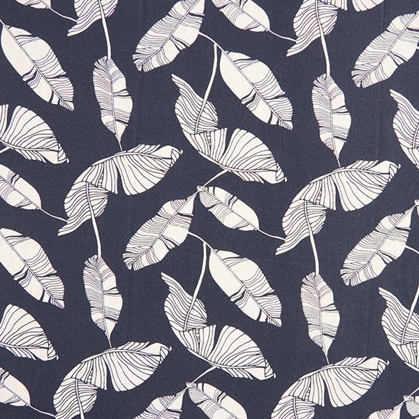 Mélange viscose lin Feuilles – bleu marine/nature