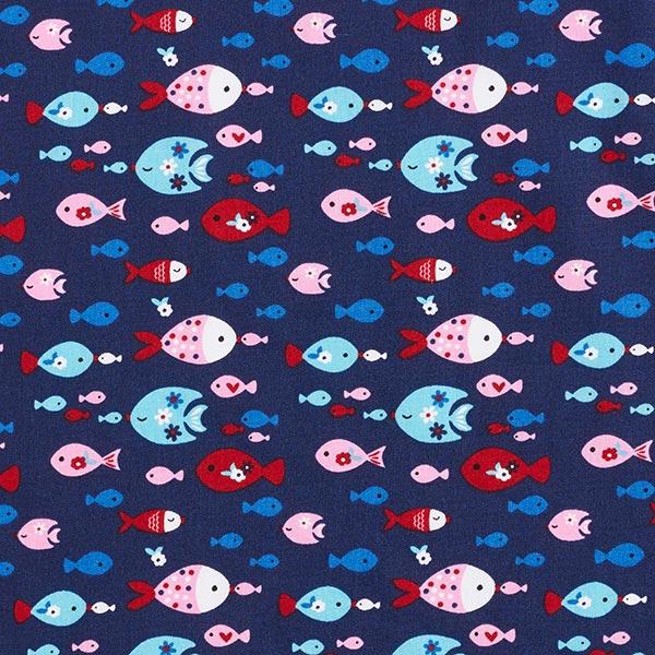 Baumwollpopeline Fische – marineblau