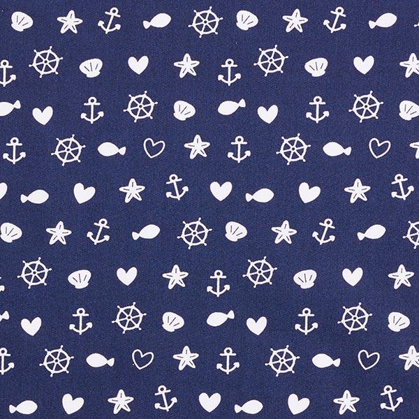 Baumwollpopeline Muscheln, Anker und Fische – marineblau