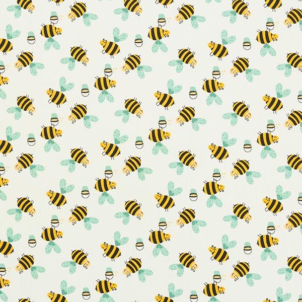 Popeline coton Petites abeilles affairées – écru