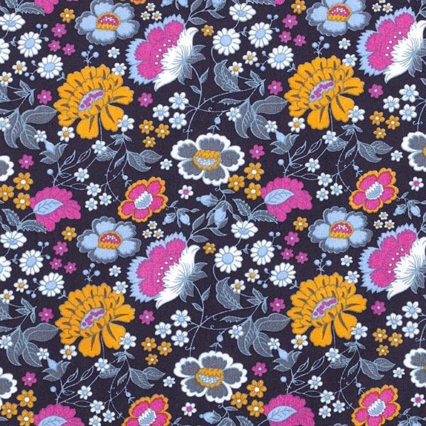 Tissu en coton Popeline Fleurs – navy