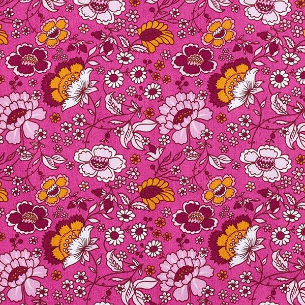 Tissu en coton Popeline Fleurs – rose vif