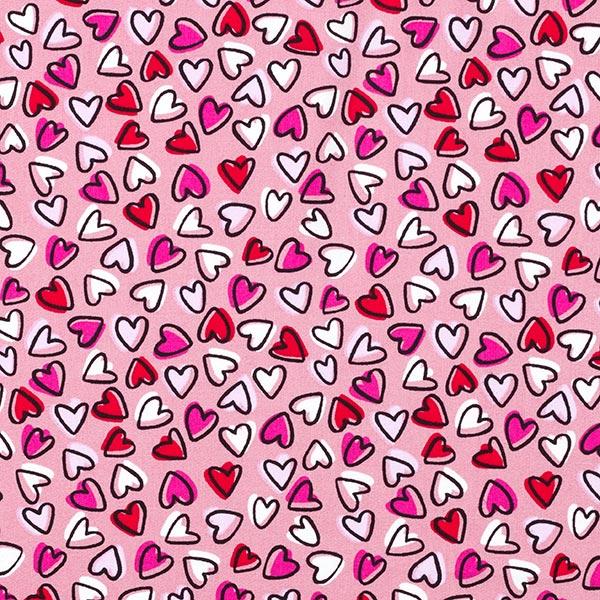 Popeline coton Cœurs – vieux rose