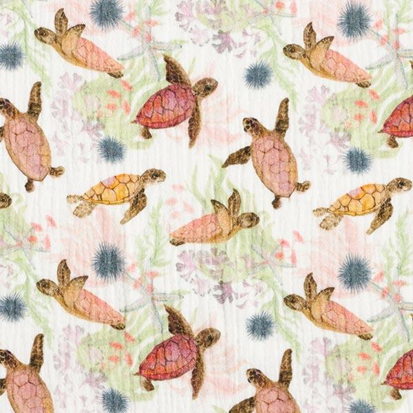 Musselin Digitaldruck Schildkröten – wollweiss
