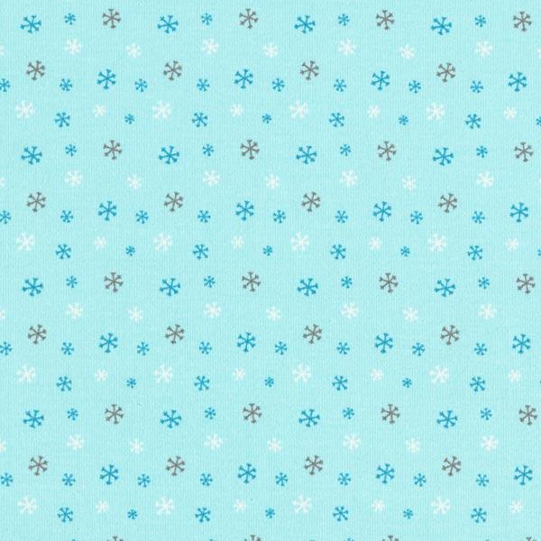 Baumwolljersey Schneeflocken – himmelblau