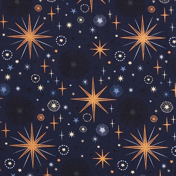 Baumwollstoff Popeline große funkelnde Sterne – marineblau/roségold