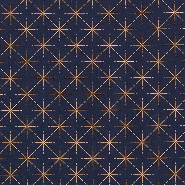 Baumwollstoff Popeline Sterne in Rautenformation – marineblau/roségold