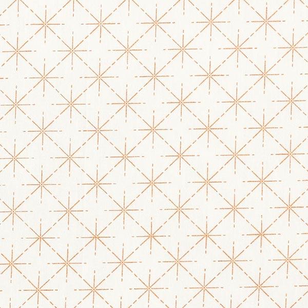 Baumwollstoff Popeline Sterne in Rautenformation – weiss/roségold