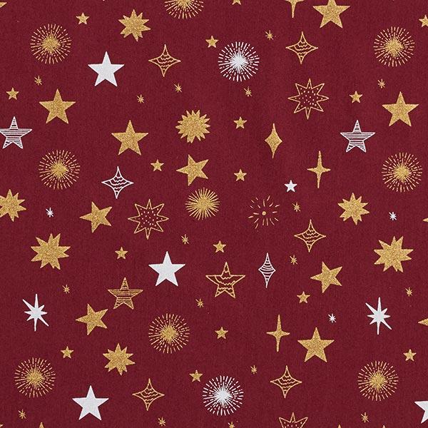 Baumwollstoff Popeline blinkende Sterne – karminrot/gold
