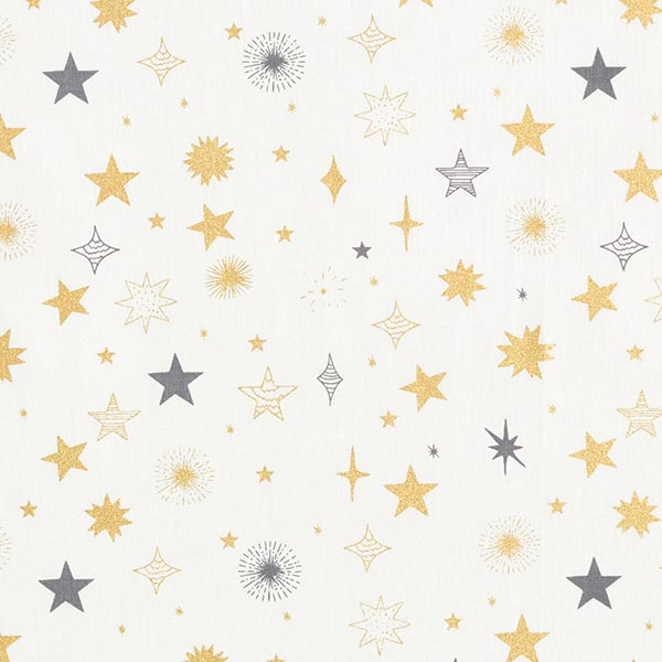 Baumwollstoff Popeline blinkende Sterne – weiss/gold