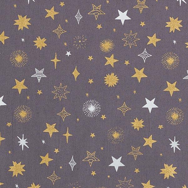 Baumwollstoff Popeline blinkende Sterne – grau/gold
