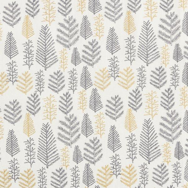 Baumwollstoff Popeline unterschiedliche Tannenzweige – weiss/gold