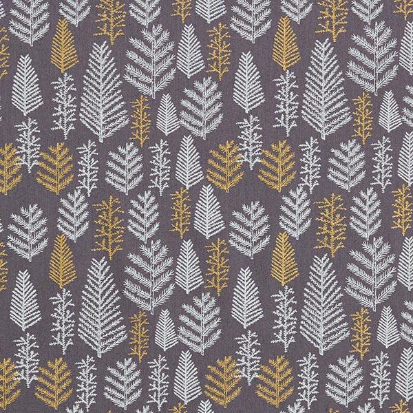 Baumwollstoff Popeline unterschiedliche Tannenzweige – grau/gold