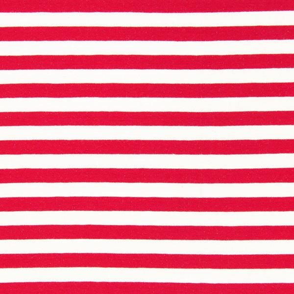 French Terry Streifen 2 - rot/weiß