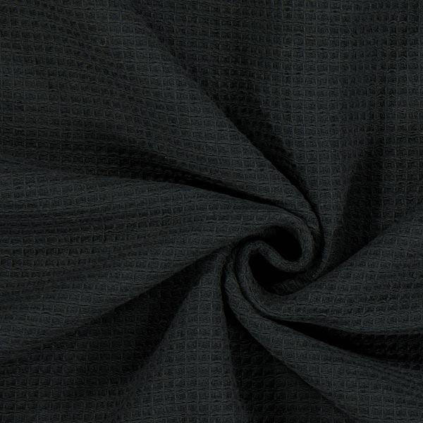 Frottee Waffelpiqué – schwarz