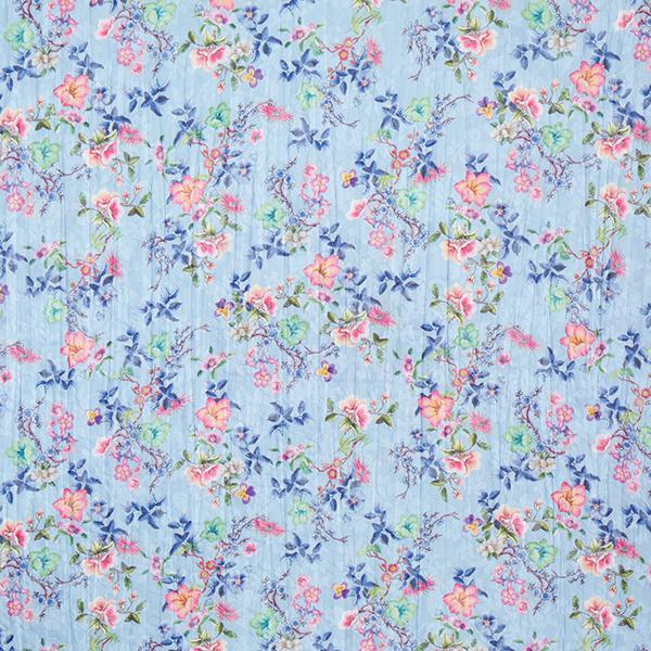 Baumwollstoffe Voile Ausbrenner Blumendruck – babyblau