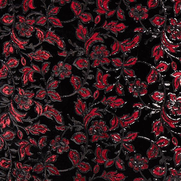 Velours stretch Broderie à paillettes Fleurs – carmin/noir