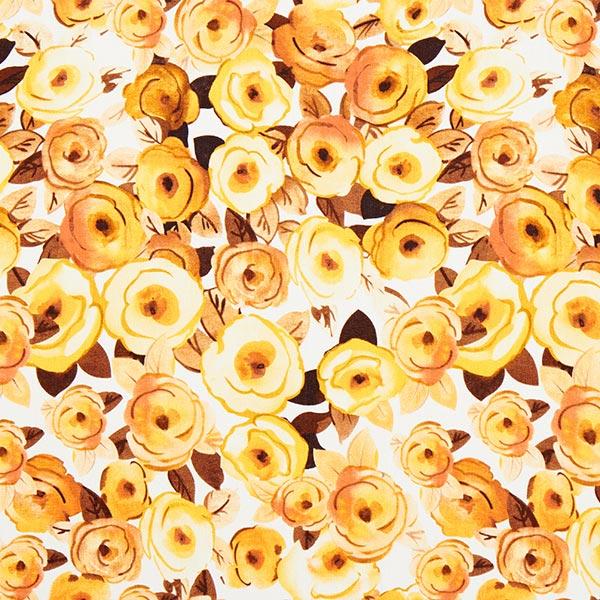 Mélange viscose lin Roses peintes – jaune/marron