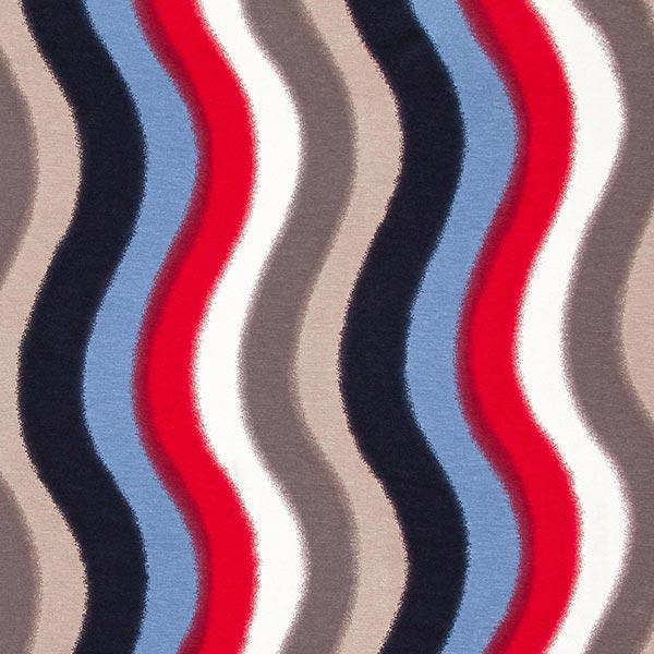 Viskosejersey verlaufende Schlangenlinien – rot