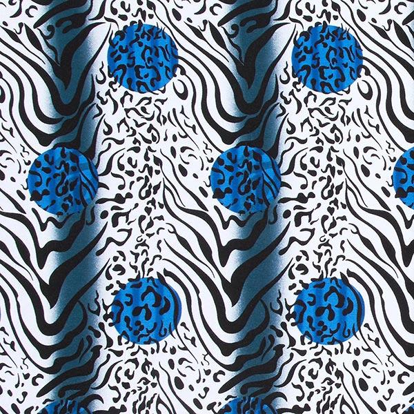 Jersey viscose Mélange tigre-léopard – bleu roi