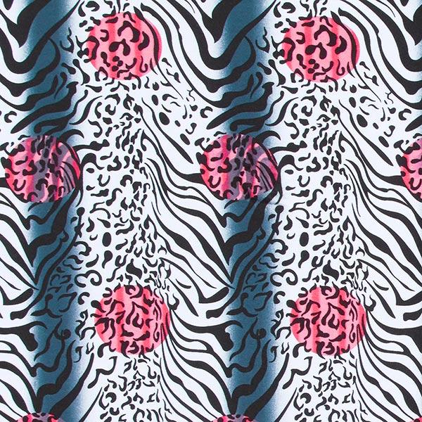 Jersey viscose Mélange tigre-léopard – rose vif