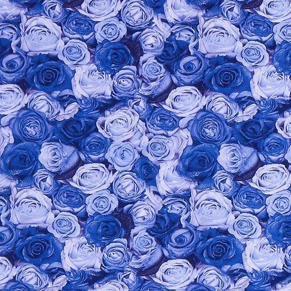 Jersey polyester Mer de roses – bleu roi