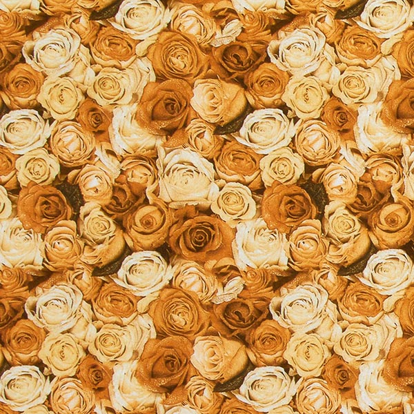Jersey polyester Mer de roses – curry