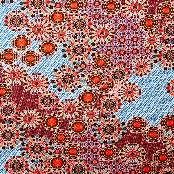 Jersey coton Motifs de mosaïque – rouge/rose