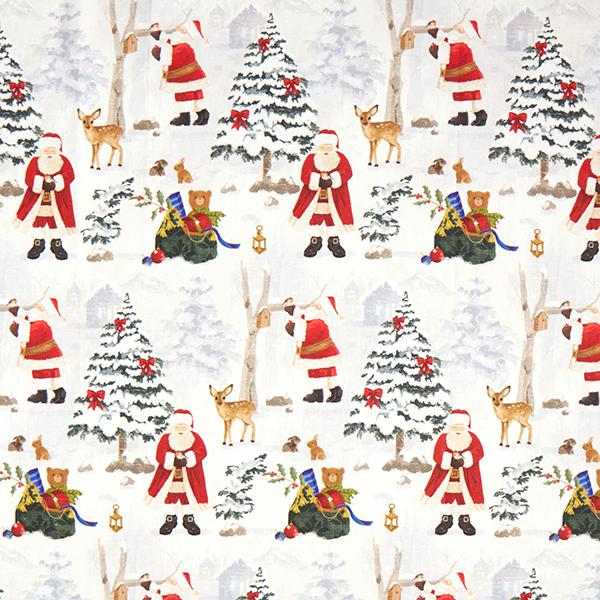Dekostoff Halbpanama Weihnachtsmann im Schnee – wollweiss