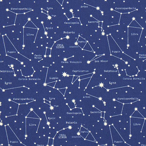Baumwollstoff Cretonne Sternenbilder – marineblau