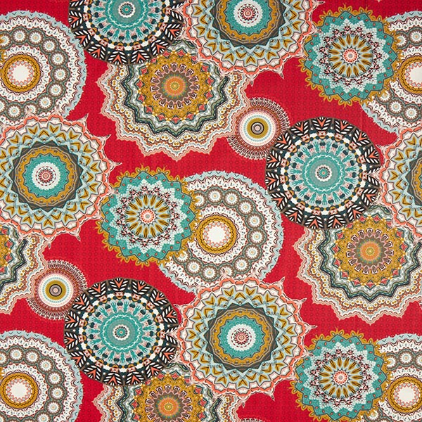 Cretonne Grand motif mandala – rouge