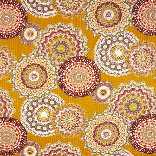 Cretonne Großes Mandala-Muster – senf