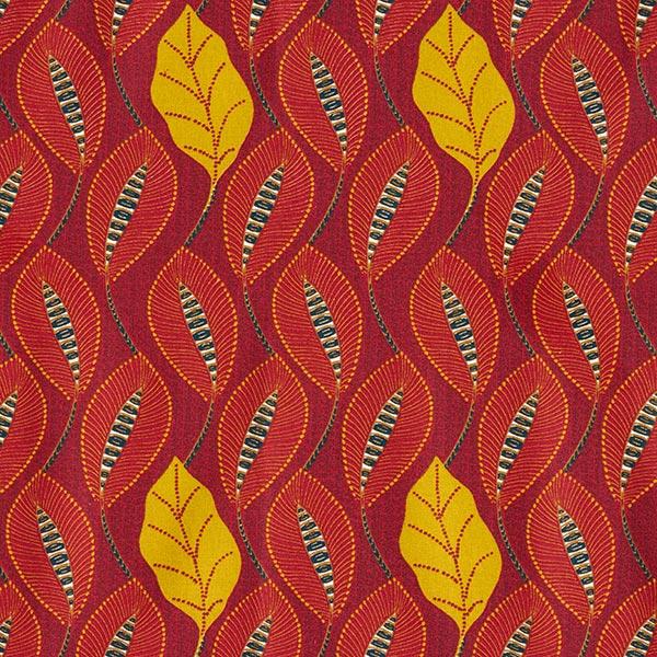 Cretonne Feuilles ethniques – rouge bordeaux/moutarde