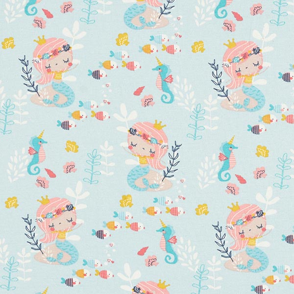 Baumwolljersey Meerjungfrau – babyblau/rosa