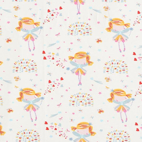 Jersey coton Petite fée – blanc/bleu clair