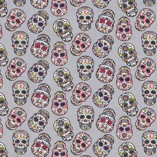 Tissu en coton Cretonne Día de los Muertos Têtes de mort – gris