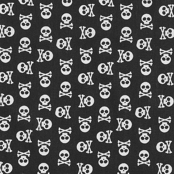 Tissu en coton Cretonne Têtes de mort – noir