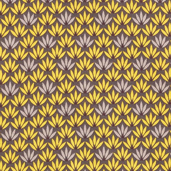 Baumwollstoff Cretonne Seerose – senf/dunkelgrau