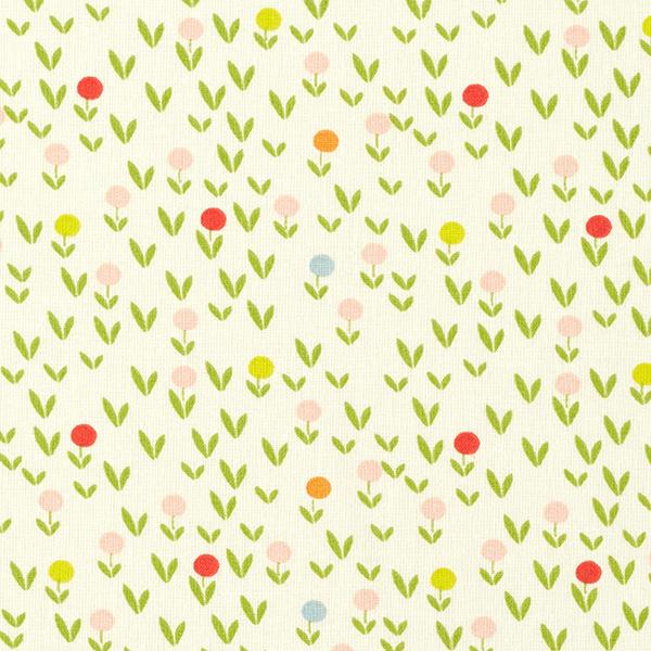 Baumwollpopeline Blumenwiese – wollweiss