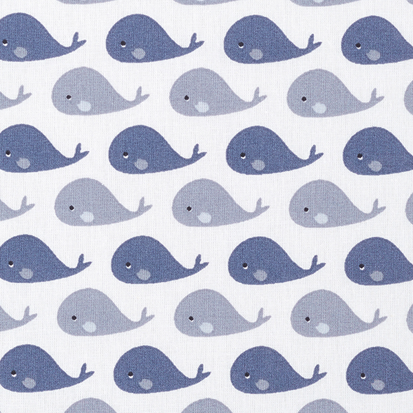 Baumwollpopeline Wal – weiss/grau