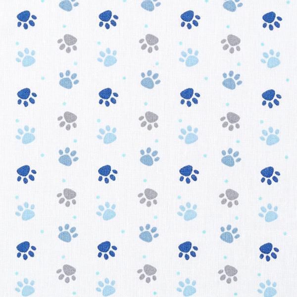 Popeline coton Pattes – blanc/bleu