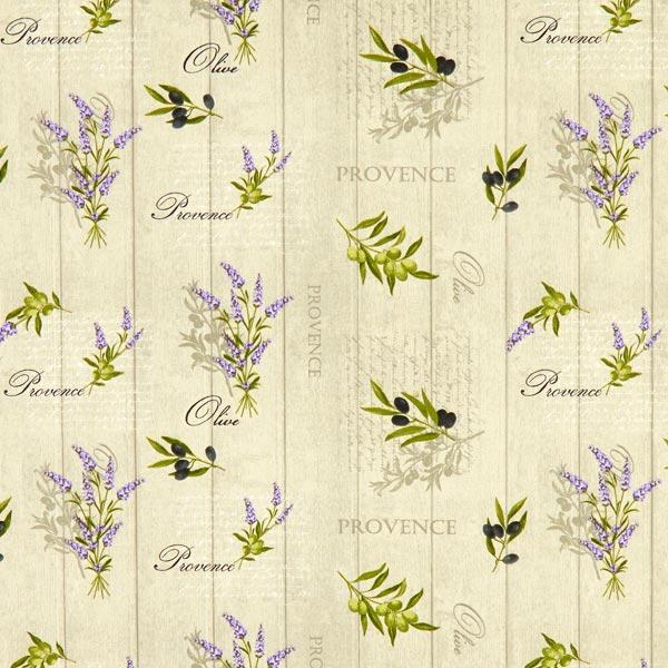 Tissu en coton Cretonne Lavande et olives – nature