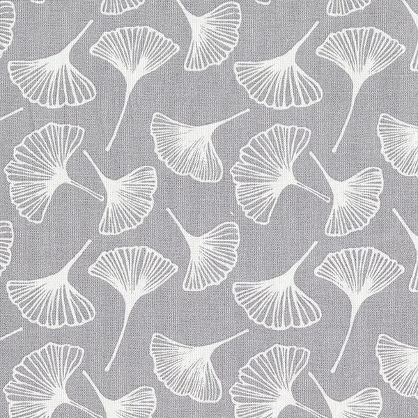Tissu en coton Cretonne  Ginkgo – gris